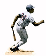 Baseball Painting Framed Prints - Mays Willie Mays Framed Print by Iconic Images Art Gallery David Pucciarelli