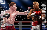 Boxing Digital Art - Mayweather vs Canelo by Erik Carrillo
