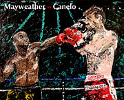 Famous Boxer Framed Prints - Mayweather vs Canelo Framed Print by Mark Moore