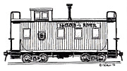 Caboose Drawings Posters - McCloud River Railroad Caboose Poster by Craig Bass
