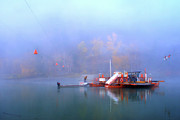 Foggy Digital Art Prints - McCLURE FERRY Print by Theresa Tahara