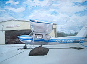 Plane Painting Originals - McCollum Airfield by Kathy Rennell Forbes