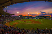 Lightpole Posters - McCoy Stadium Sunset Poster by Tom Gort