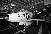 Manhatan Prints - McDonnell Douglas A4B a4 Skyhawk on the hangar deck of the Intrepid Sea Air Space Museum Print by Joe Fox