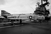 Manhatten Posters - McDonnell f4 F-4N Phantom on display on the flight deck at the Intrepid Sea Air Space Museum Poster by Joe Fox
