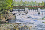 Waterfalls Paintings - McGowan Falls by Bev Morgan