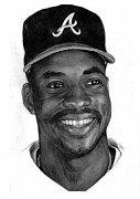 Baseball Portraits Drawings Posters - McGriff Poster by Harry West
