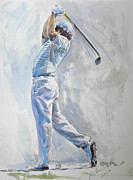 Famous Golfers Framed Prints - McIlroy Swing Portrait Watercolour Framed Print by Mark Robinson