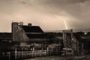 Storm Prints Framed Prints - McIntosh Farm Lightning Sepia Thunderstorm Framed Print by James Bo Insogna