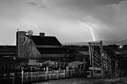 Storm Prints Posters - McIntosh Farm Lightning Thunderstorm Black and White Poster by James Bo Insogna