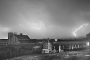 Storm Prints Posters - McIntosh Farm Lightning Thunderstorm View BW Poster by James Bo Insogna