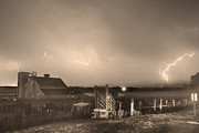 The Nature Center Photo Framed Prints - McIntosh Farm Lightning Thunderstorm View Sepia Framed Print by James Bo Insogna