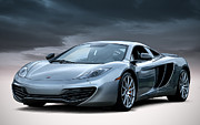 Silver Digital Art Prints - McLaren MP4 12C Print by Douglas Pittman