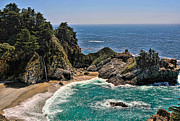 Highways Framed Prints - McWay Falls Beach Framed Print by Lara Ellis