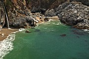 Big Sur Ca Metal Prints - McWay Into The Bay Metal Print by Adam Jewell