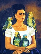 Self-portrait Prints - Me and my Parrots Print by Pg Reproductions