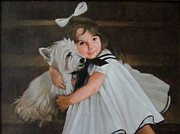 Scottie Portrait Paintings - Me and My Scottie by Janet McGrath