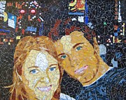 Mosaic Glass Portrait Mixed Media Framed Prints - Me and Santi in Times Square Framed Print by Rachel Van der pol