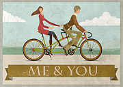 Team Digital Art Prints - Me and You Bike Print by Andy Scullion
