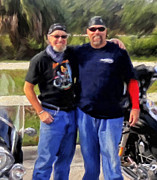 Harley Davidson Paintings - Me n Bro by Michael Pickett