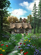 Victorian Digital Art Framed Prints - Meadow Cottage Framed Print by Dominic Davison