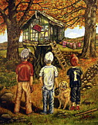 Baseball Art Print Painting Prints - Meadow Haven Print by Linda Simon