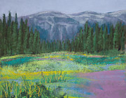 Green Grass Pastels Posters - Meadow in the Cascades Poster by David Patterson