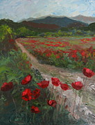 Susan Richardson Paintings - Meadow With Poppies by Susan Richardson