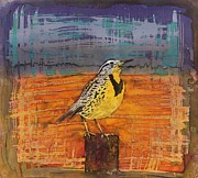 Birds Tapestries - Textiles Prints - Meadows Song Print by Carolyn Doe