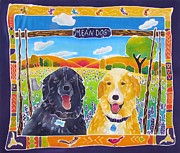 Happy Lab Framed Prints - Mean Dogs Framed Print by Harriet Peck Taylor