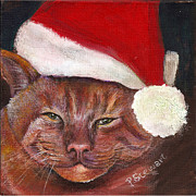 Tabby Paintings - Mean Orange Cat in Santa Hat by Penny Stewart