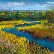Field Pastels Prints - Meandering Stream Print by David Patterson