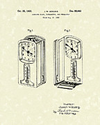 Clock Drawings Posters - Measuring Device 1932 Patent Art Poster by Prior Art Design