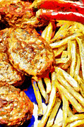 French Fries Painting Posters - Meat cutlets with potatoes painting Poster by Magomed Magomedagaev