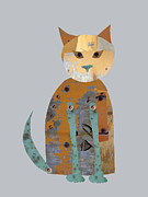 Abstract Cat Prints - Mechanical Cat Print by Ann Powell