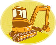 Machinery Metal Prints - Mechanical Digger Excavator Retro Metal Print by Aloysius Patrimonio