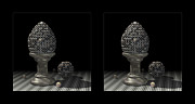 Egg-cup Framed Prints - Mechanical Egg 3D Framed Print by Hakon Soreide