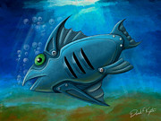 Swimming Fish Framed Prints - Mechanical Fish 4 Framed Print by David Kyte