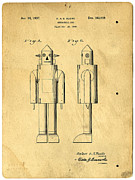 Blueprint Photo Prints - Mechanical Man Patent Print by Edward Fielding