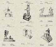 Technical Art Drawings Prints - Mechanical Toy Banks Patent Collection Print by PatentsAsArt