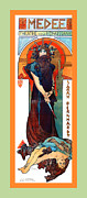 Vineyard Art Prints - Medee Print by Alphonse Maria Mucha
