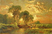 Sun River Paintings - Medfield Massachusetts by Inness
