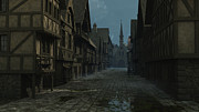 Old Roadway Digital Art Posters - Mediaeval Street at Evening Poster by Fairy Fantasies