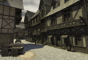 Old Roadway Digital Art Posters - Mediaeval Street Scene - 1 Poster by Fairy Fantasies