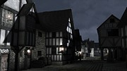 Old Roadway Digital Art Posters - Mediaeval Town Street at Night Poster by Fairy Fantasies