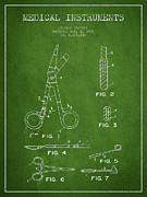 Medical Instruments Patent From 2001 - Green Print by Aged Pixel