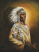 Cowboys And Indians Painting Framed Prints - Medicine Chief Framed Print by Kim Lockman
