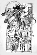 Dancer Pyrography Prints - Medicine Dancer Print by Mike Holder