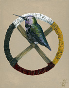 Medicine Mixed Media Prints - Medicine Wheel Print by J W Baker