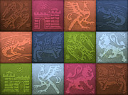 Tiles Drawings - Medieval 12-Tile Collage Spring Colors by S L Kellaway